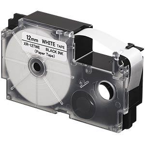 Band für den Indoor-Einsatz, schwarz auf weiß, 12 mm CASIO XR-12TWE