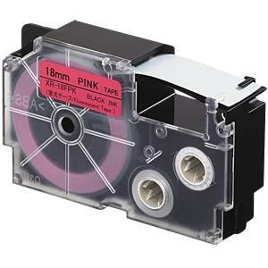 Schriftband, floureszierend, 18 mm x 8 m, schwarz/ pink CASIO XR-18FPK
