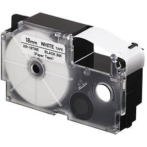 Papierband, schwarz auf weiß, 18 mm CASIO XR-18TWE