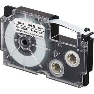Besonders stark haftend, schwarz auf weiß, 9 mm CASIO XR-9GWE