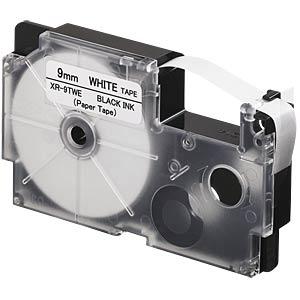 Papierband, schwarz auf weiß, 9 mm CASIO XR-9TWE