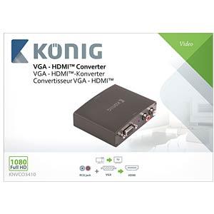 HDMI Konverter, VGA Buchse/ 2 Cinch auf HDMI Buchse KÖNIG KNVCO3410