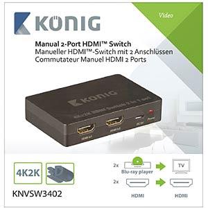 HDMI Switch, 2x HDMI Buchse auf 1x HDMI Buchse KÖNIG KNVSW3402