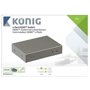 HDMI Switch, 2x HDMI Buchse auf 1x HDMI Buchse KÖNIG KNVSW3412