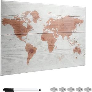 NAVARIS 45724.01 - Glas - Magnetwand 60x40 cm - Weltkarte Design