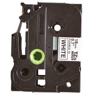 Flexi-Tape, schwarz auf weiß, 18mm BROTHER TZe-FX241