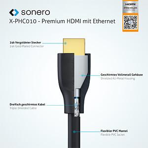 Premium High Speed HDMI Kabel mit Ethernet, 0,5 m SONERO X-PHC010-005