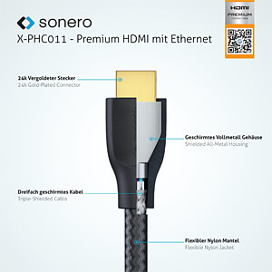 Premium High Speed HDMI Kabel mit Ethernet, 3 m SONERO X-PHC011-030