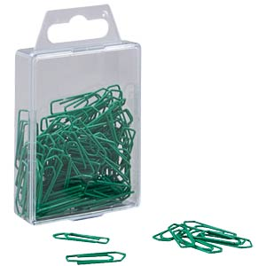Paper clips, 26 mm, painted, green FREI