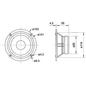 Conus middentonen 130 mm / 90 W VISATON 1305