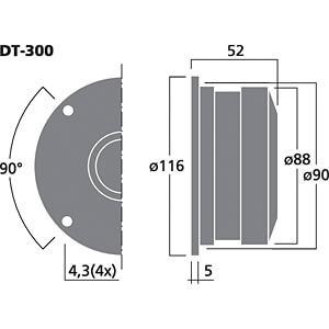 Hi-Fi-Kalottenhochtöner, 50 W, 8 Ohm MONACOR DT-300