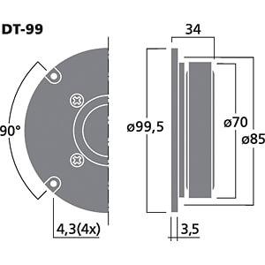 Hi-Fi-Kalottenhochtöner, 40 W, 8 Ohm MONACOR DT-99