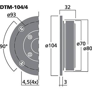 Hi-Fi-Kalottenhochtöner, 45 W, 8 Ohm (8) 4 Ohm (4) MONACOR DTM-104/4