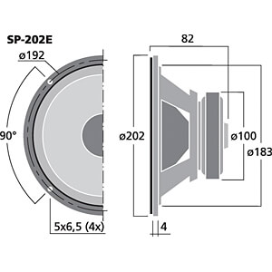 Hi-Fi-Tiefmitteltöner, 50 W, 4 Ohm MONACOR SP-202E