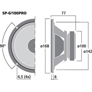 PA-Tiefmitteltöner, 100 W, 4 Ohm MONACOR SP-6/100PRO