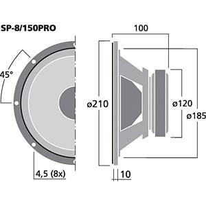 PA-Kompakt-Tieftöner, Subwoofer, 150 W, 8 Ohm MONACOR SP-8/150PRO