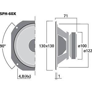 Breitbandlautsprecher, 30 W, 8 Ohm MONACOR SPH-60X