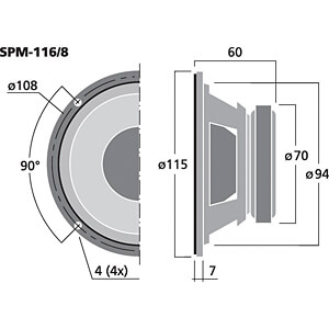 Hi-Fi-Tiefmitteltöner, 40 W, 8 Ohm MONACOR SPM-116/8