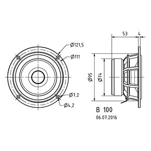 Breitbandlautsprecher B 100, 30 W, 6 Ohm VISATON 1263