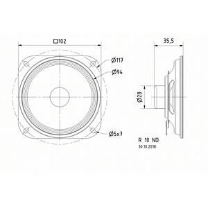 Luidspreker, breedband, 100 mm, 20 W VISATON 2334