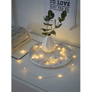 LED Dekolichterkette, 40 warm weiße Dioden, kupferfarbener Draht KONSTSMIDE 1461-160