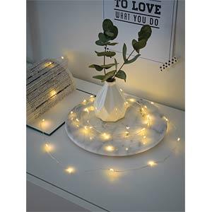 LED Dekolichterkette, 40 warm weiße Dioden, silberfarbener Draht KONSTSMIDE 1461-190