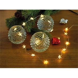 LED Dekolichterkette, transparente Sterne, 20 warm weiße Dioden KONSTSMIDE 3199-103