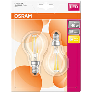 LED-Lampe STAR E14, 4 W, 470 lm, 2700 K, Filament, 2er-Pack OSRAM 4058075112018