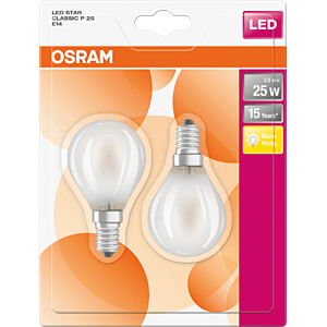 LED-Lampe STAR E14, 2,8 W, 250 lm, 2700 K, Filament, 2er-Pack OSRAM 4058075112070