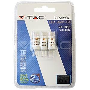 CREE LED, G4, 1.2W, 4500 K, EEK A+, 3-er Pack V-TAC 4287