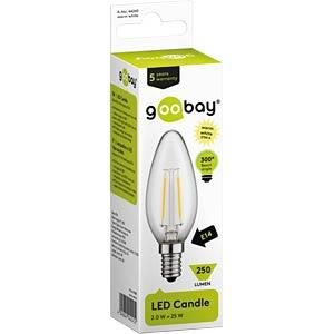 LED-Lampe E14, 2 W, 250 lm, 2700 K GOOBAY 44245