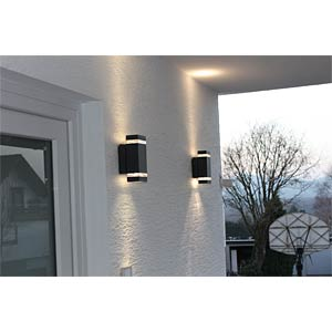 Wandleuchte, 7,6 W, 300 lm, 4100 K, anthrazit, IP44 ECO LIGHT 6050 GR LED