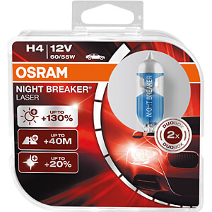 Kfz-Lampe, H4, 2er-Pack, P43t, Night Breaker Laser OSRAM AUTOMOTIVE 64193NBL-HCB