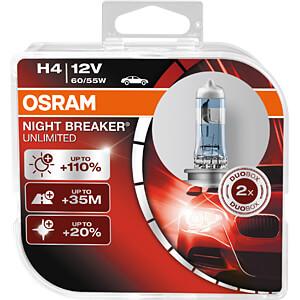Kfz-Lampe, H4, 2er-Pack, P43t, Night Breaker Unlimited OSRAM AUTOMOTIVE 64193NBU-HCB