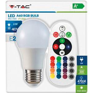 LED-Lampe E27, 6 W, 470 lm, 2700 K, mit Fernsteuerung, dimmbar V-TAC 7324