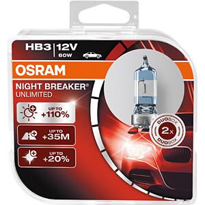 Kfz-Lampe, HB3, 2er-Pack, P20d, Night Breaker Unlimited OSRAM AUTOMOTIVE 9005NBU-HCB