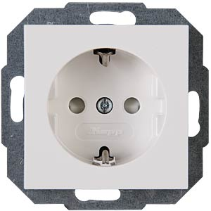 Outlet w child safety feature, HK07 pure white KOPP 940029008