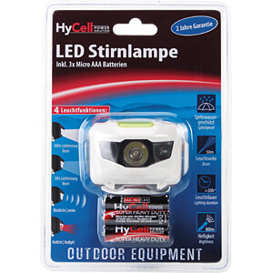 LED-Stirnleuchte, 80 lm, weiß / grau, 3x AA (Mignon) HYCELL 1600-0077