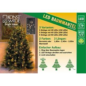 LED Baummantel mit Ring, 5 Stränge a 50 Dioden , vormontiert KONSTSMIDE 6362-120