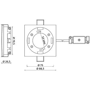 GX53 Fassung Einbau eckig A silber DELOCK 46101