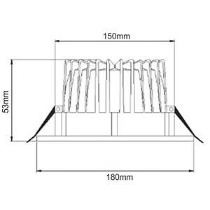 LED recessed downlight, 15 W, 647 lm, 4000 K LED GALAXY DLR180-W15-840