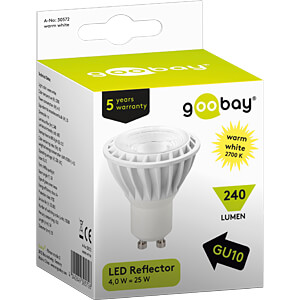 LED spotlight GU10, 4 W, 240 lm ww, EEK A+ GOOBAY 30572