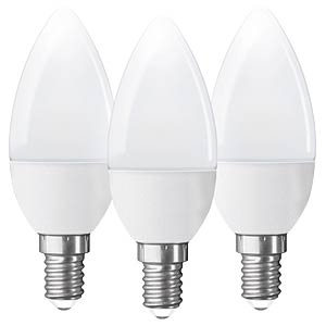 LED candle, E14, 250 lumen, warm white, EEC A+, pack of 3 GOOBAY 30541