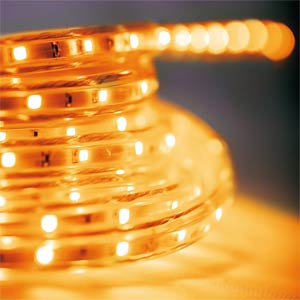 LED strips for interior and exterior use, 5 m, yellow, EEC C HEITRONIC 38032