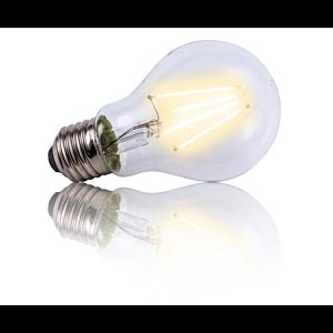 LED A60 light bulb, clear, 5.5 W, LED filaments, EEC A++ HEITRONIC 16202