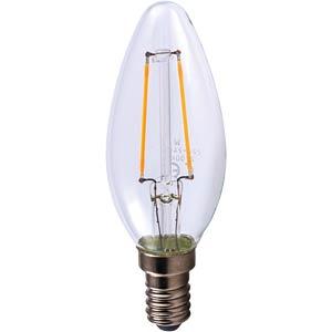 LED candle bulb, clear, 2 W, LED filaments, EEC A++ HEITRONIC 16166