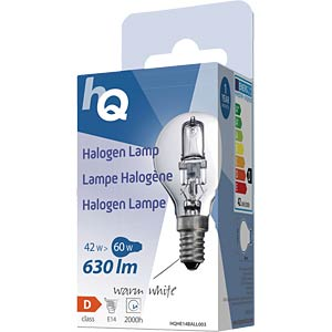 Halogenlampe E14, 42 W, 630 lm, 2800 K, dimmbar HQ HQHE14BALL003