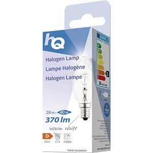 Halogenlampe E14, 28 W, 370 lm, 2800 K, dimmbar HQ HQHE14CAND001