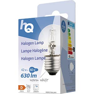 Halogenlampe E27, 42 W, 630 lm, 2800 K, dimmbar HQ HQHE27BALL003