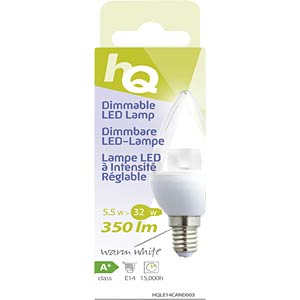 Dimmable LED bulb, candle design E14 5.5 W 350 lm 2700 K, EEC A+ HQ HQLE14CAND003